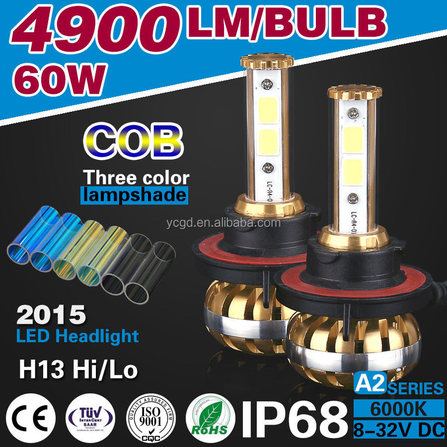 FACTORY WHOLESALE A2 COB CHIP LED 60W 6400LM H13 AUTO LED HEADLIGHTING BULBS
