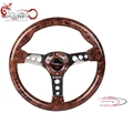 Ryanstar 350mm universal Aluminum Racing Car 6-Hole faux wood steering wheel
