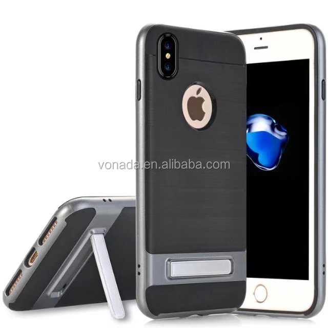 Armor Plastic Kickstand Shockproof Back Cover Case for iPhone x