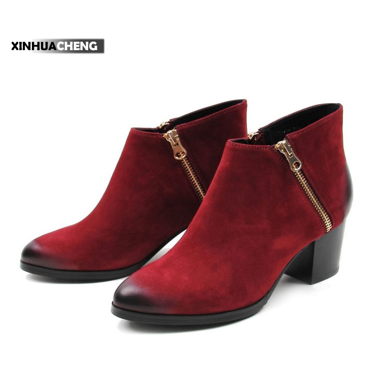 Best selling rough women leather heel boots