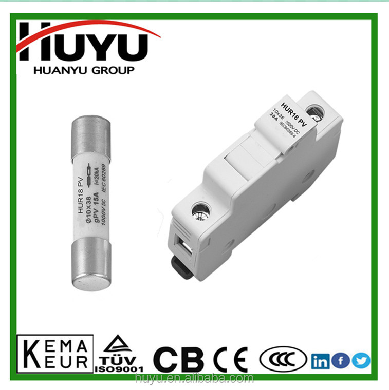 Solar PV protection IEC Safety Standards cylindrical 1000V DC 1500V DC fuse fuse and holder