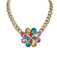 102460 Colorful flowers jewelry indian ruby beads necklace design
