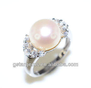 925 Silver Jewelry Fresh Water Rould Real Pearl CZ Ring