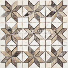 rhombus marble mosaic coffee color flower shape design new product for walls and floor