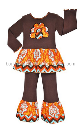 Little Girls Boutique Fall Damask Thanksgiving Turkey Clothes Chocolate Long sleeve knit shirt with Turkey embroidered patch