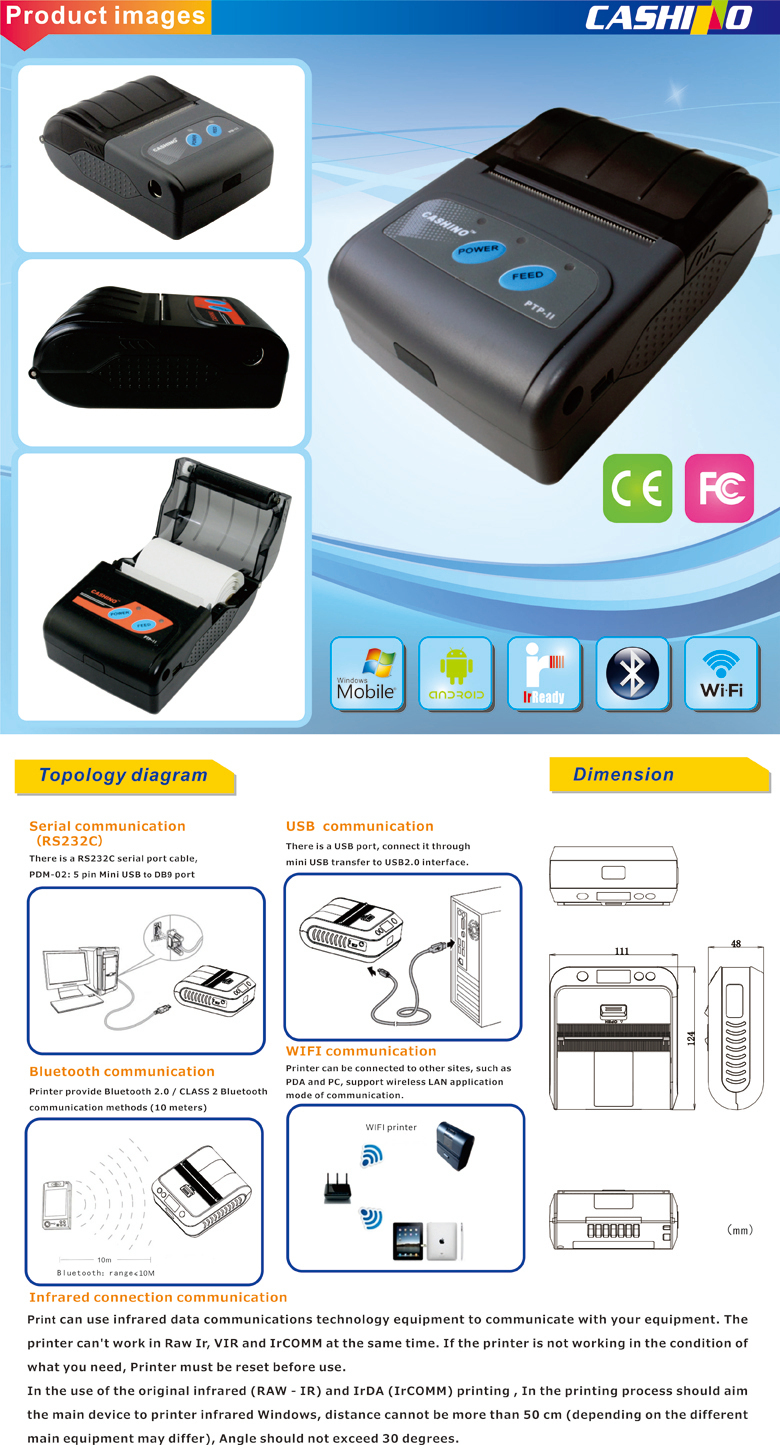 PTP-II 58mm wireless thermal printer support smartphone with Android