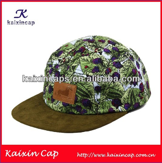 Full Grape Pattern Printing 5 panel hat/ Brown Suede Brim Flat 5 Panel Hats Caps And Leather Strap Gorras Snap Backs 5 Panel