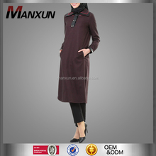 Wholesale New Style Muslim Tunic Fashion Dubai Abaya Plaid Islamic Top