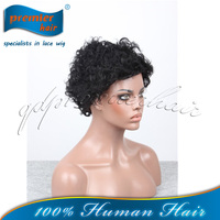 wholesale cheap indian remy 1# pic curly machine made human hair wig,paypal acceptable