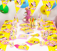 New Arrival Baby Girl Mouse Birthday Theme Party Tableware Set Baby Shower Decorations
