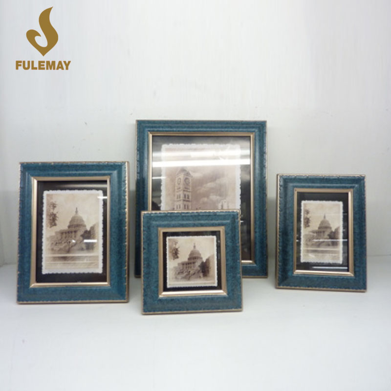 Blue Retro Wood 8x10 Picture Frame Desktop Frames For Wedding Family