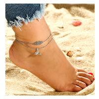 Beach Fashion Ankle Chain Jewelry Bohemian Mermaid Fish Tail Anklets Multi-Layer Barefoot Sandals Ankle Bracelet
