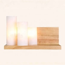 modern deco E27 led <strong>bulb</strong> 3 heads reading scone light indoor solid wood bedside mounted wall lamp
