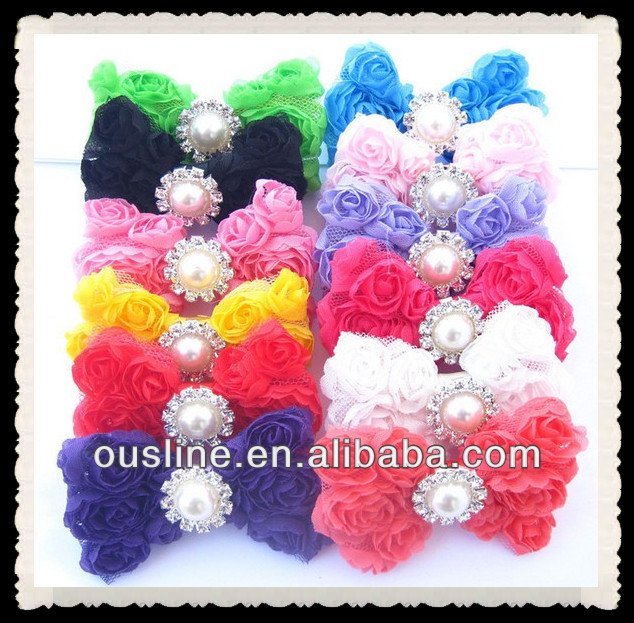 lovely rosette bow with pearl rhinestone children accessories
