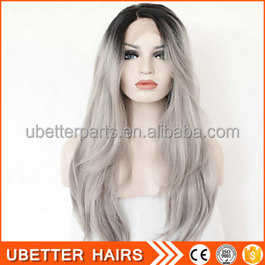 100% human hair full hand made fashion spiky grey lace front wigs