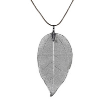 Custom simple design women and girls long chain real leaf pendant necklace