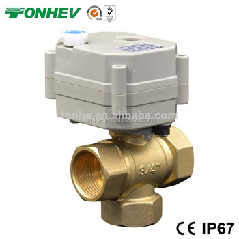 three Way Electric Actuator Brass ball Valve with Manual Function