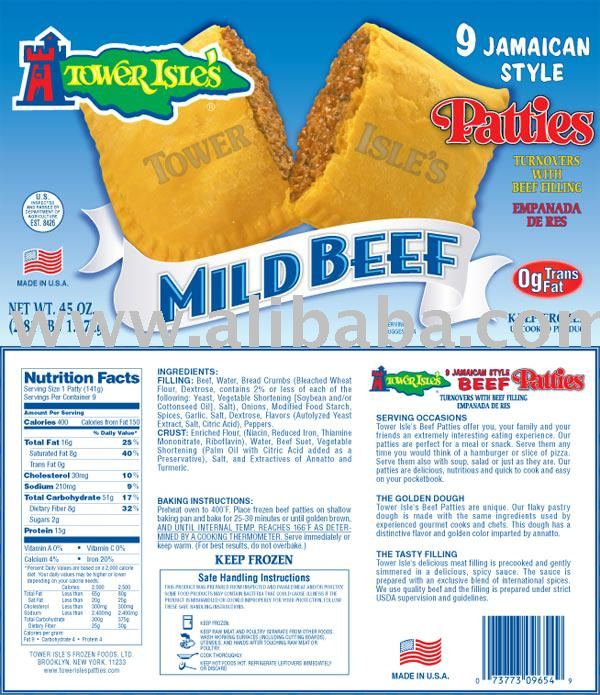 9 Pack Jamaican Style Mild Beef Patties
