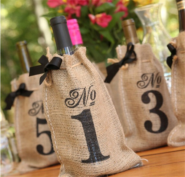 Burlap Table Number Wedding Accessories Wine Bags , Set of 10