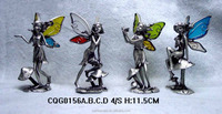 Eco-friendly pewter fairy with color glass wings mini figures