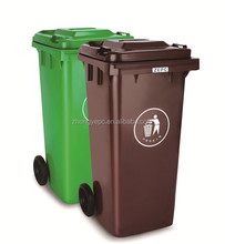 HDPE outdoor hospital plastic dustbin cheap color coded trash bin with wheels