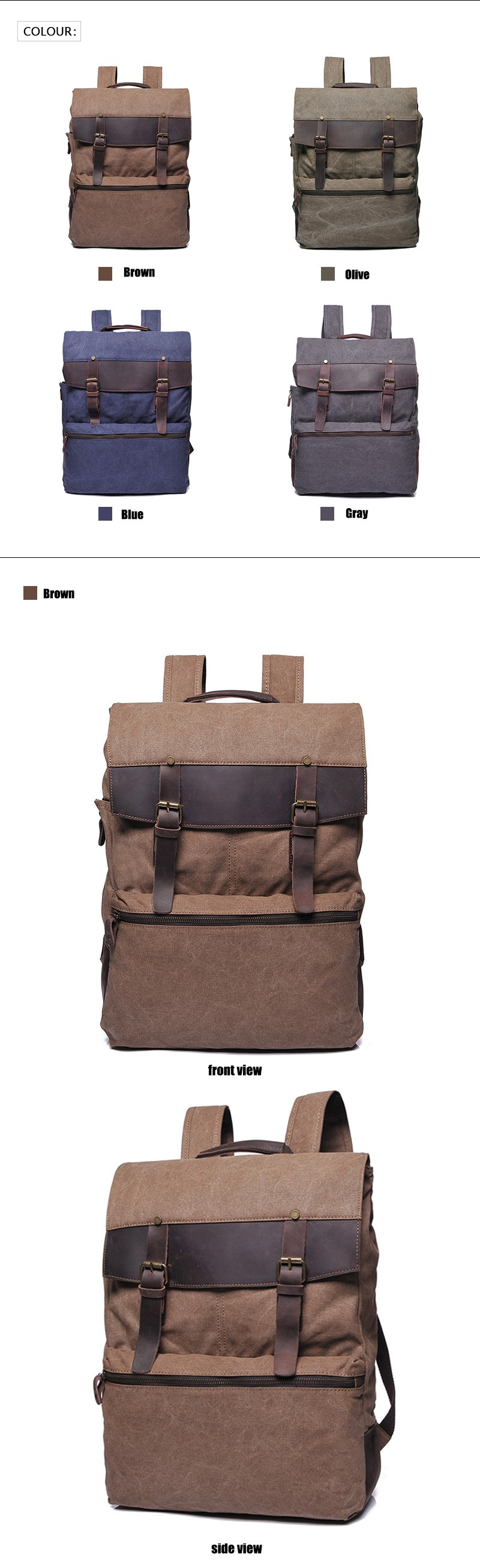 YD-2198 Wholesale european teenager vintage style canvas high school backpack for women men