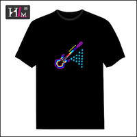 2015 new fashion china Manufacturers el led equalizer leucht t-shirt for man