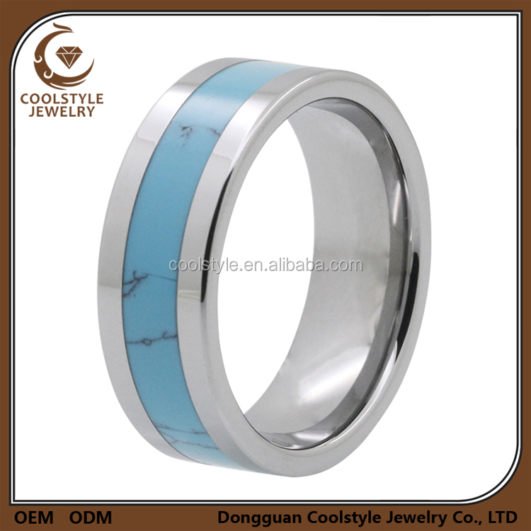 Custom flat band turquoise inlay titanium engagement rings for men