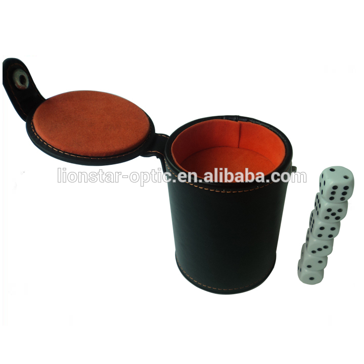 Custom Logo Double-deck PU/PVC Real Leather Dice Cup with Lid
