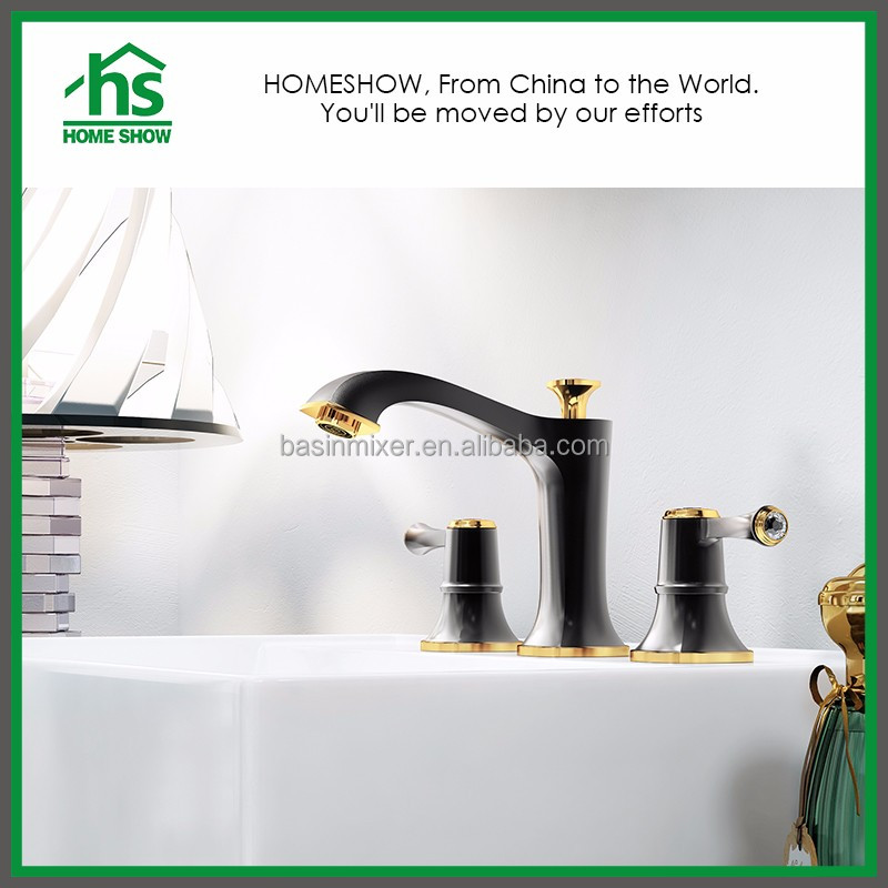 Classic Black Gold Painting Brass Dual Handle Wash Basin Faucets For Bath