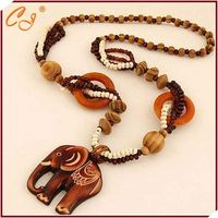 Lucky Charm Graved Elephant Wood Pendant Wholesale
