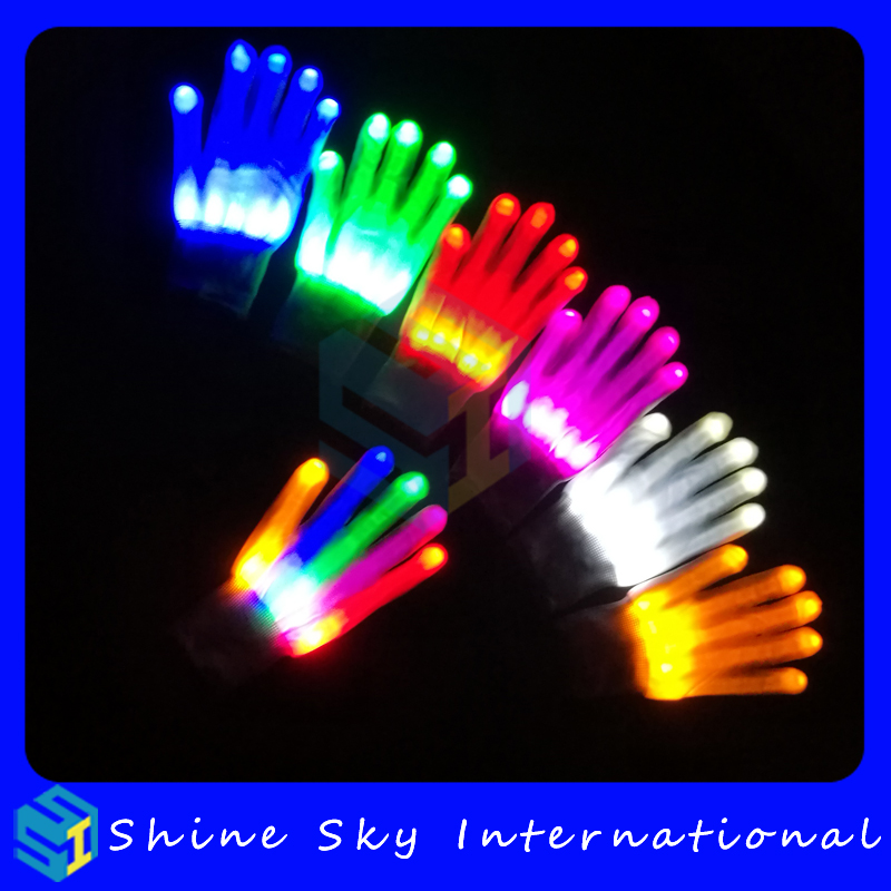 Best gifts to son colorful finger light glove,led dance gloves halloween costume led magic gloves