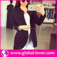 2015 black mid length lady soft shell jacket