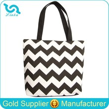 Black And White Zig Zag Print Canvas Chevron Tote Bag Wholesale