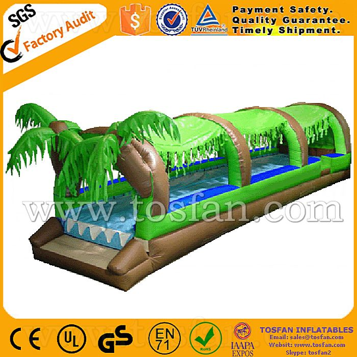 New design funny adult size giant inflatable water slide slip n slide A4009