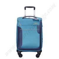 Blue lightweight soft polyester material 20 inches trolley luggage
