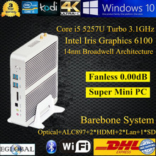 Barebone No Memory Dual Lan Intel Nuc Fanless Mini PC Intel Core i5 5200U 5257U Home Computer Support Win 7/8 DHL Free Shipping