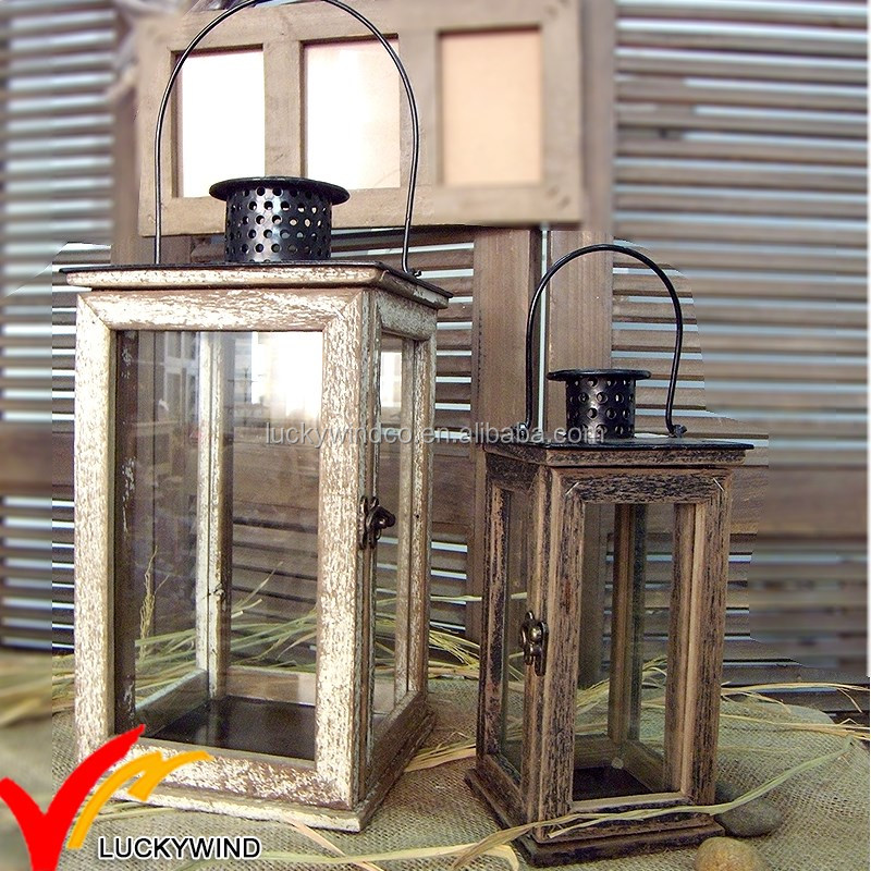 Shabby Chic Antique Rustic distressed Recycled wood lanterns