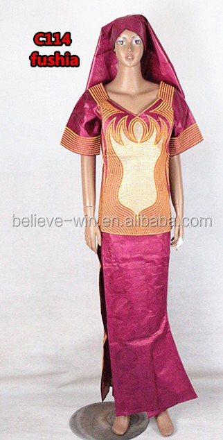 african bazin clothes women dress manufacturer of <strong>c114</strong> fushia
