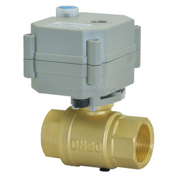 IP67 Miniature Electric flow brass valve with automatic water shut off system with manual operate valve (AT20-B2-B)