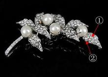 pearl necklace rhinestone brooch