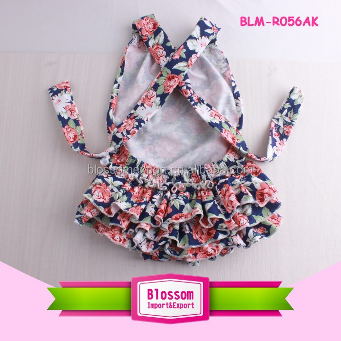 Wholesale Baby Romper Short Sleeve Long Double Ruffle Leg Baby Jumpsuit Cotton Toddler Rompers