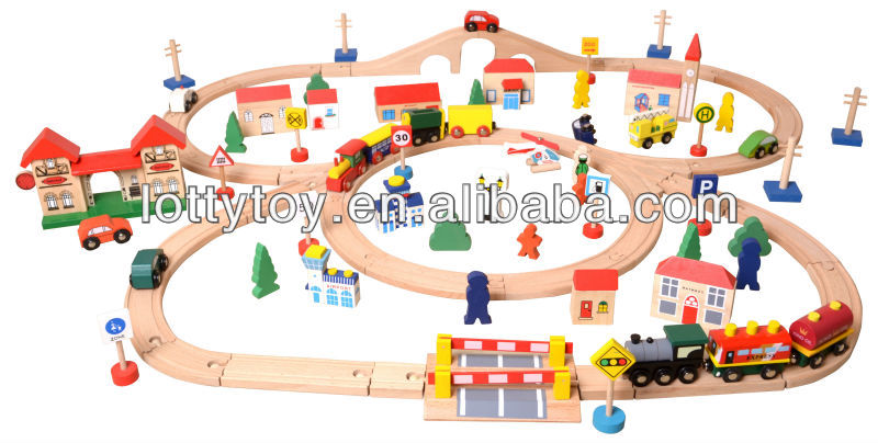 Happy playing wooden train railway set toy