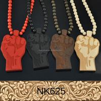 Hip-hop Fist Pendant Wood Ball Bead Chain Necklaces