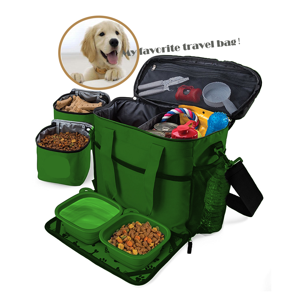 Customized Travel Dog Tote Bag Food Storage Bag Pet Toys Tidy Organizer