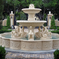 best quality European popular design stone Egypt beige marble fountain with horse and fish for garden park villa ornament