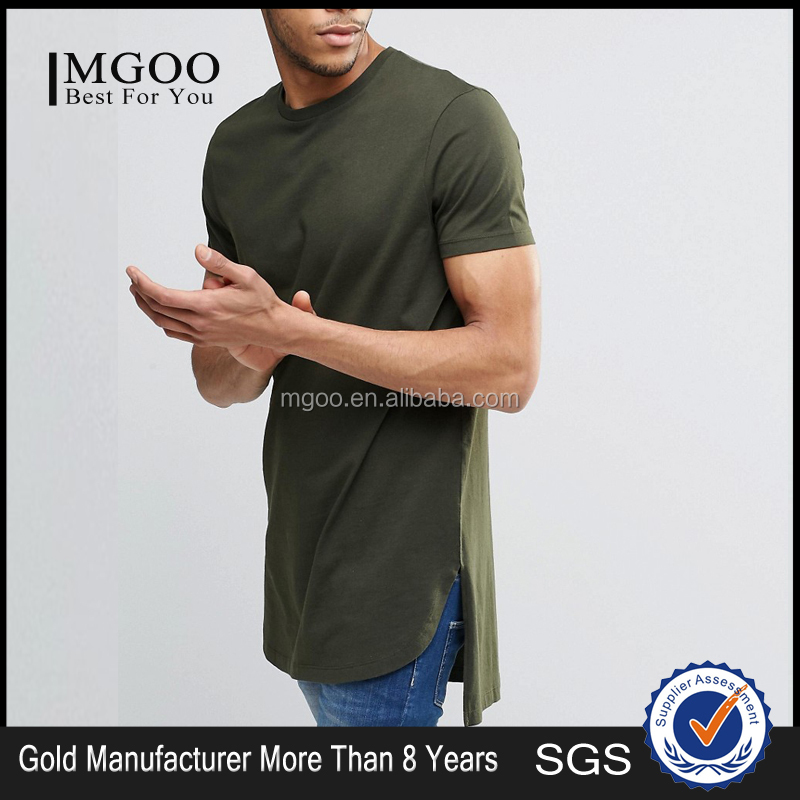 MGOO High Quality 100 Cotton Split T shirts Curved Hem Split Fashion T shirt Tall hip Hop Clothing