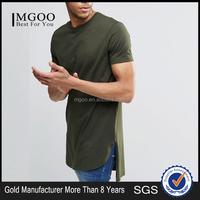MGOO High Quality 100 Cotton Split T shirts Curved Hem Split Fashion T shirt Tall hip Hop Clothing