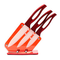 New Arrival Ceramic Knife Set 3 4 5 inch With Acrylic Knife Holder Stand Kitchen Knives Cooking Tools Beauty Gift Red Handle