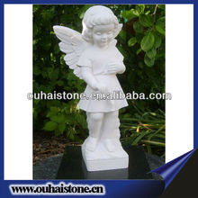 Pure White Garden Stone Small Winged Girl Angel Marble Sculptures